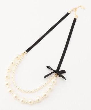 Feroux グログランパール ネックレス ブラック系