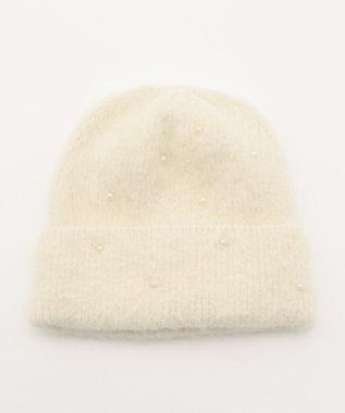 Feroux フェイクパールアンゴラ ニット帽 アイボリー系
