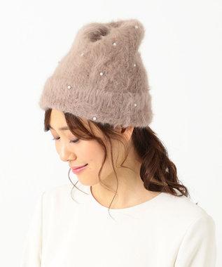 Feroux フェイクパールアンゴラ ニット帽 キャメル系