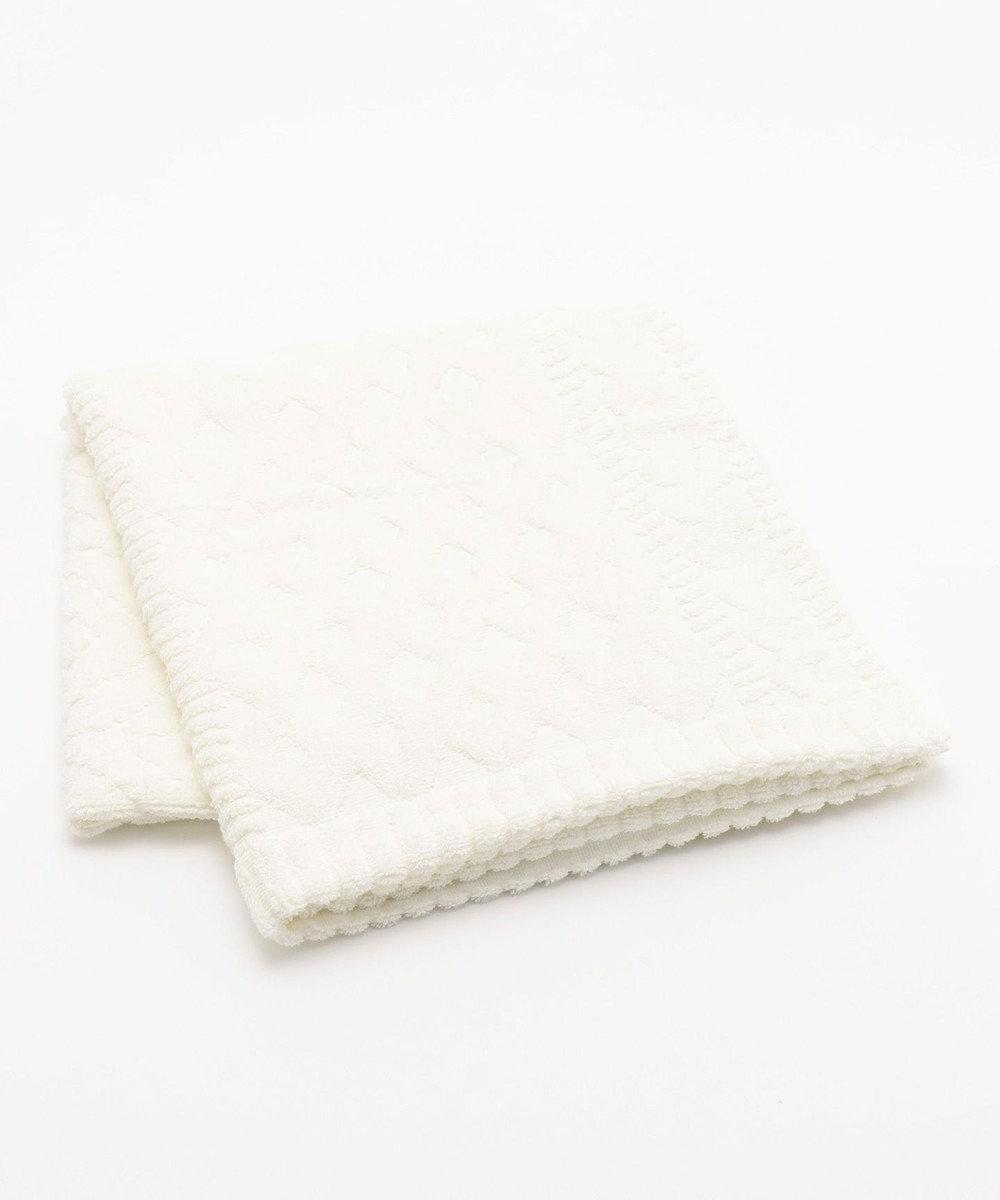 自由区 【Unfilo・cococi LDK】パッチワーク リブ バスタオル ホワイト系