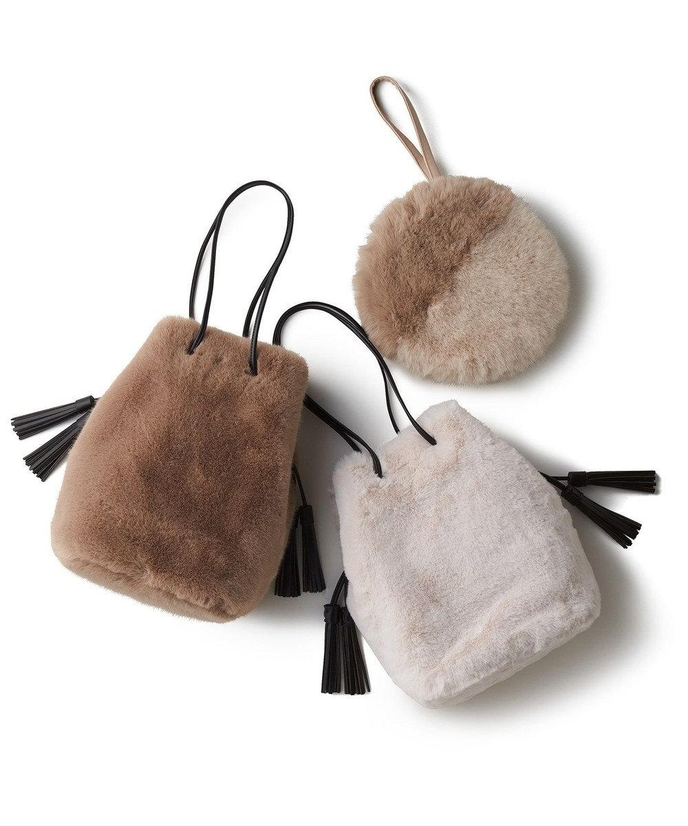 自由区 【UNFILO】エコファー 巾着バッグ(検索番号:UG58) アイボリー系