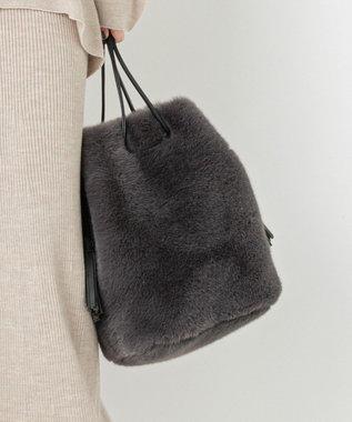 自由区 【UNFILO】エコファー 巾着バッグ(検索番号:UG58) ブラック系
