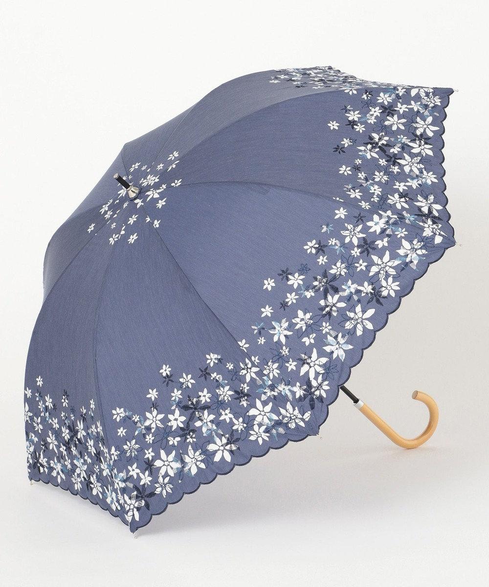 any SiS 【晴雨兼用】フラワープリント 傘 ネイビー系