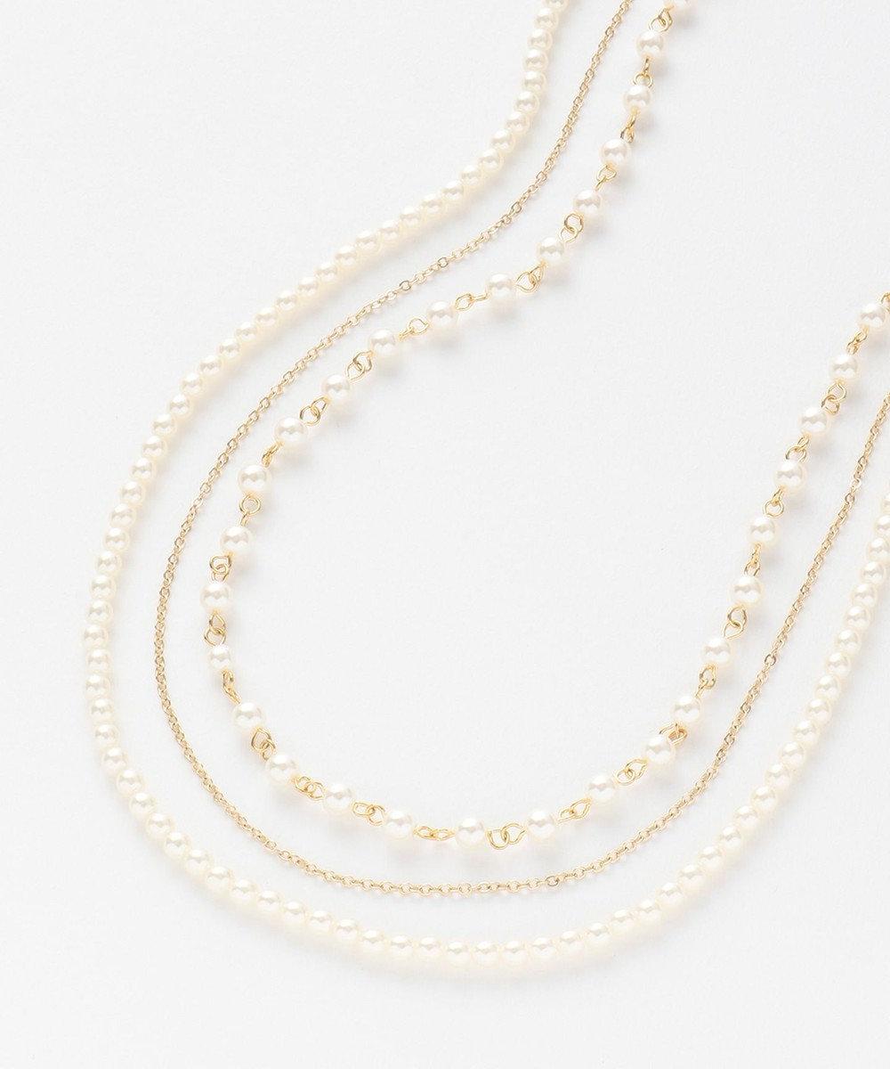 any SiS ジュエルメタルパール調 ネックレス ホワイト系