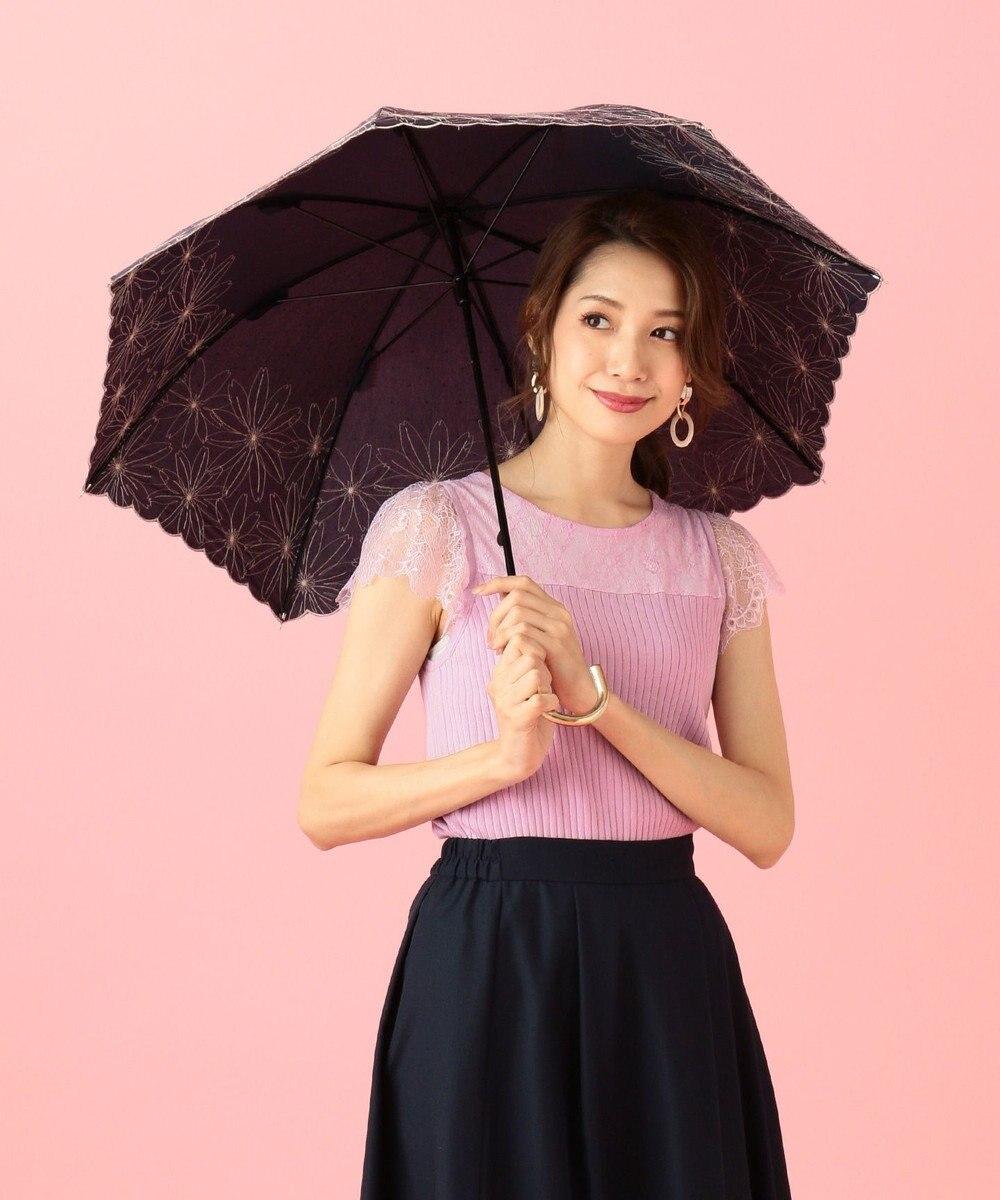 any SiS 【晴雨兼用】フラワーエンブロイダリー パラソル(長傘・折りたたみ傘) ブラック長傘