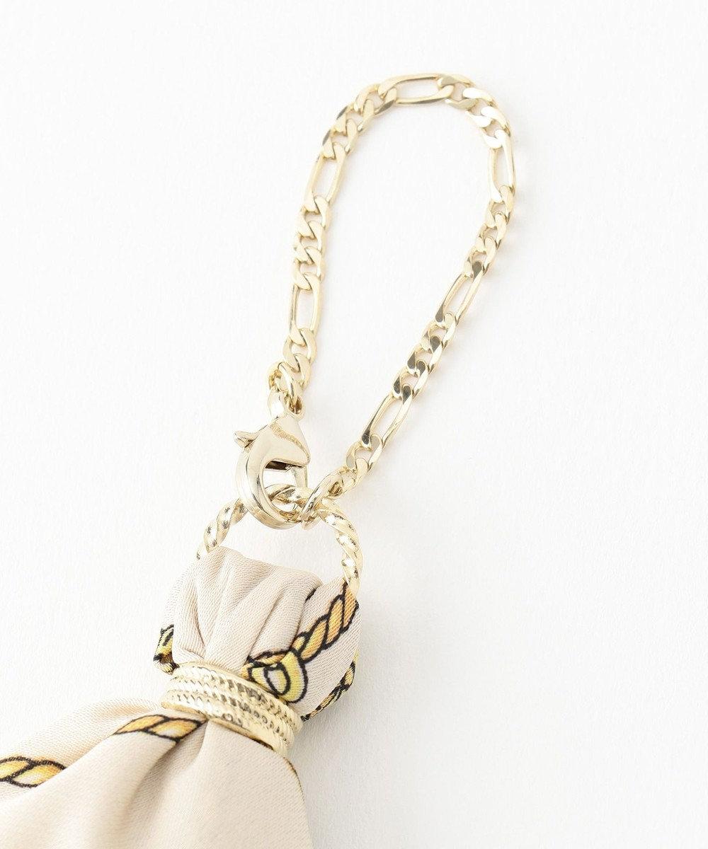 any SiS スカーフ チャーム ライトモカ×ネイビーキャメル