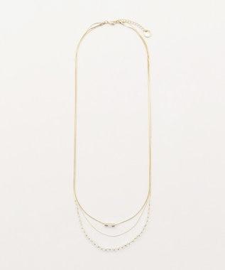 any SiS 3連ガラスビーズロング ネックレス ゴールド系