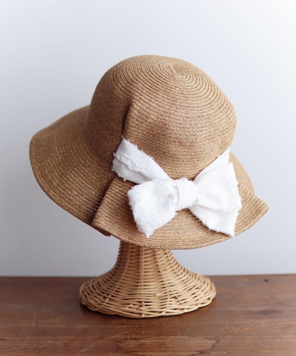 【オンワード】 AND WOOL>帽子 【UV・紫外線防止加工】ジャカートリボンの帽子 ベージュ ホワイト M-S レディース 【送料無料】