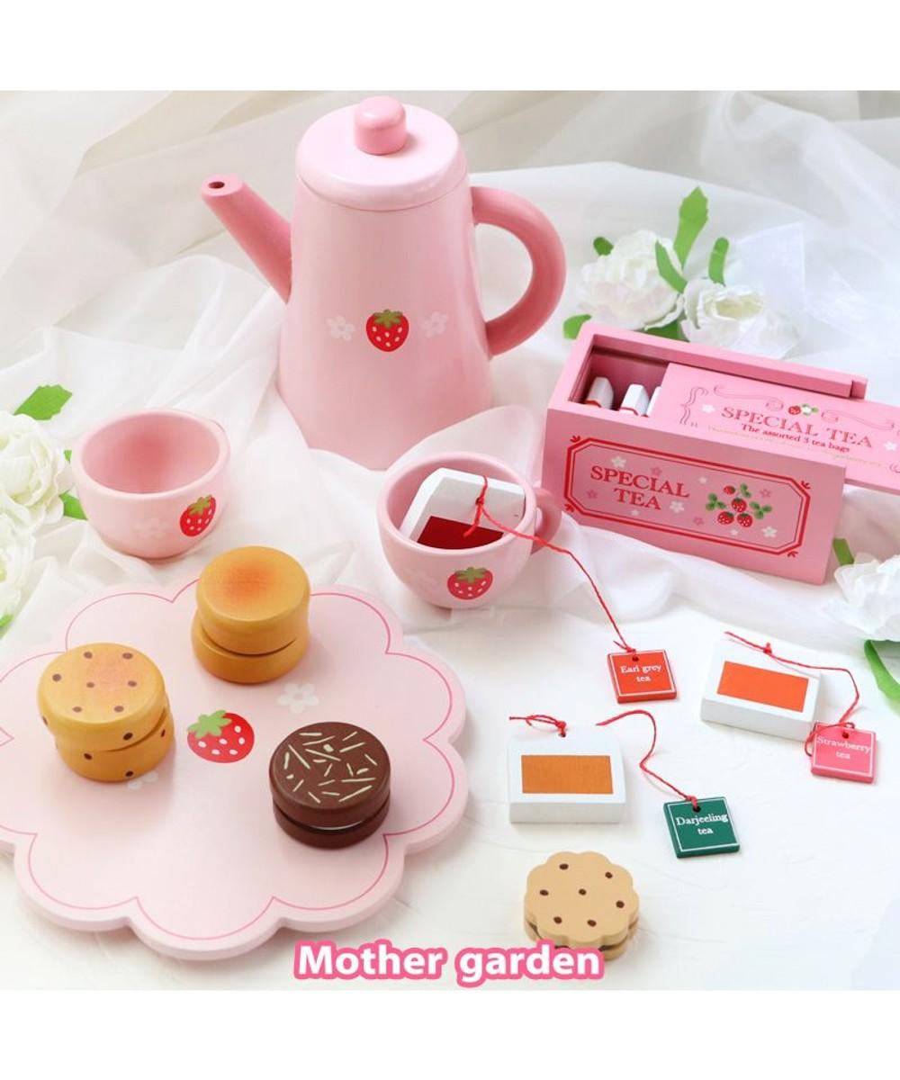 【オンワード】 Mother garden>おもちゃ マザーガーデン 木のおままごと ポット&紅茶セット 抗菌(441-95426) ピンク(淡) -