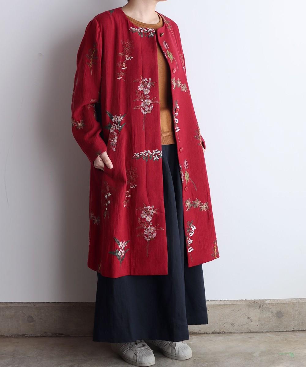 【オンワード】 muuc>ジャケット/アウター ボタニカル刺繍のコート レッド 03 レディース 【送料無料】