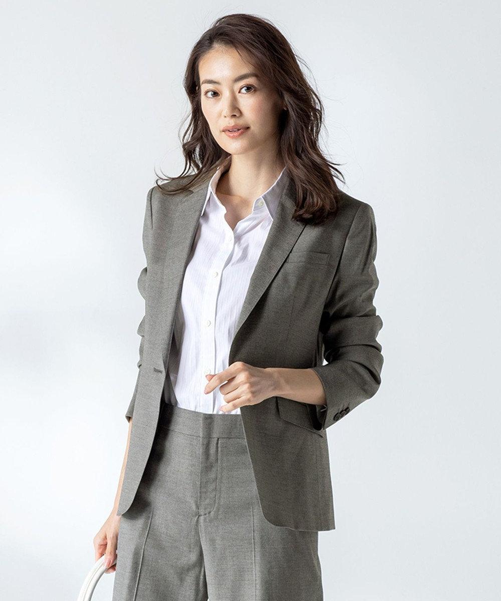 J.PRESS LADIES 【スーツ対応】Premium G.B. Conte テーラードジャケット ライトグレー系