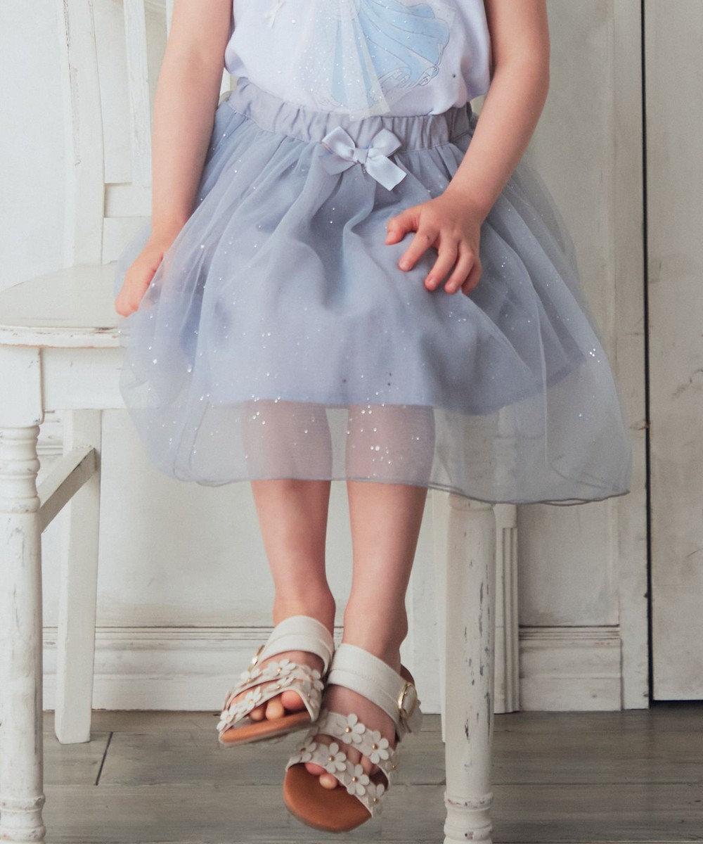 any FAM KIDS チュールプリントスカート グレー×ラメ