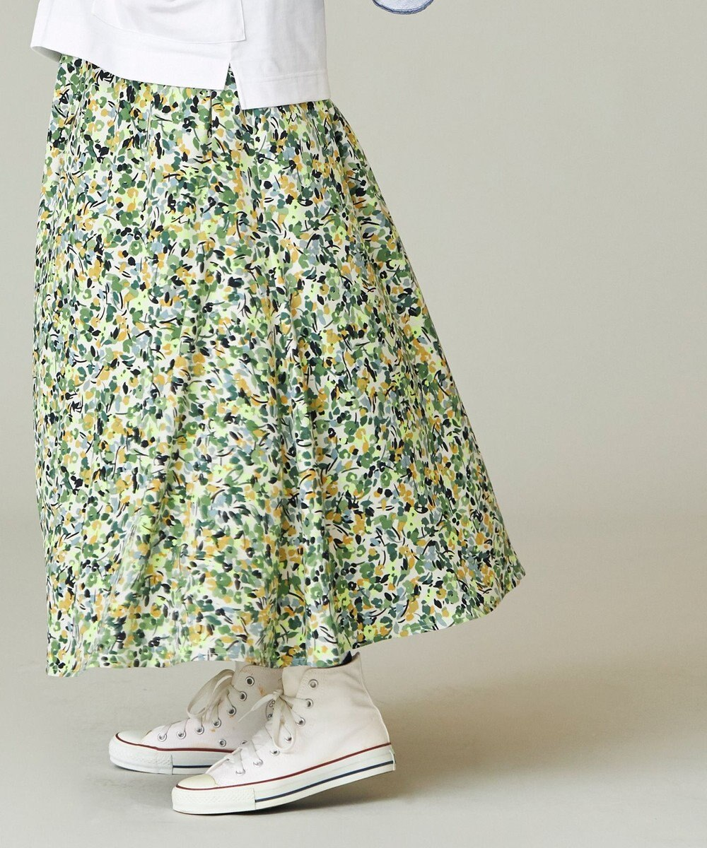 J.PRESS YORK STREET 【WOMEN】【接触冷感】リネンライク プリントスカート グリーン系5