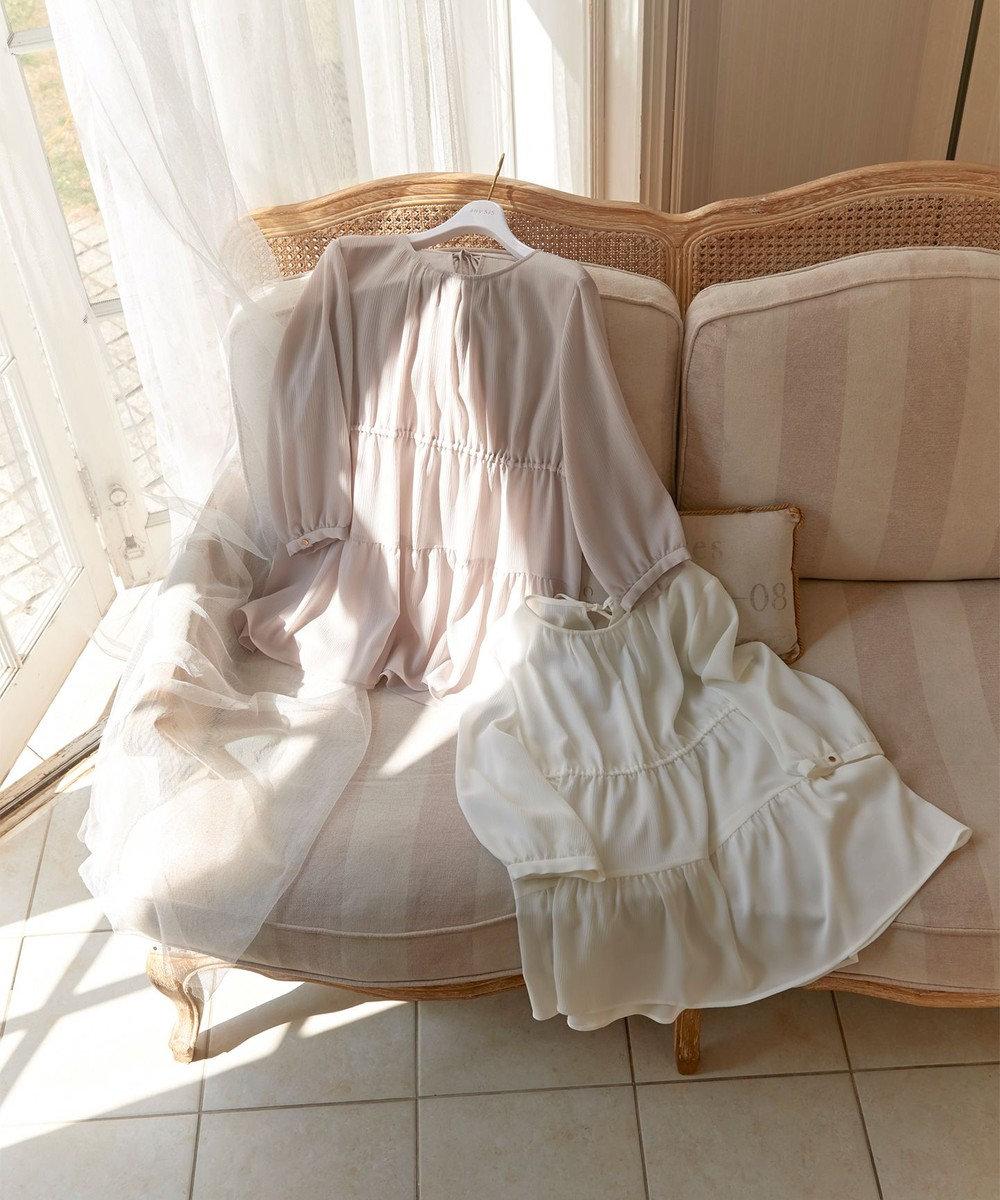 any SiS 【洗える】ティアードギャザー ブラウス オフホワイト