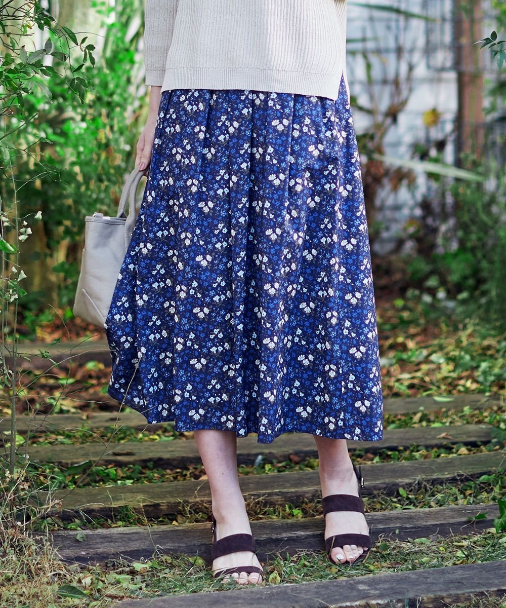 J.PRESS LADIES 【洗える】リバティプリント スカート ネイビー系5