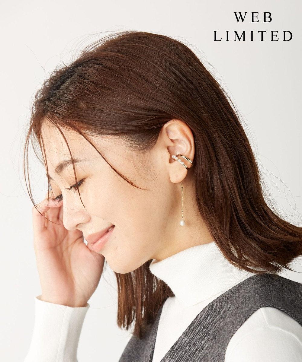J.PRESS LADIES 【WEB限定】3way チャーム付きパール イヤカフリング ホワイト系
