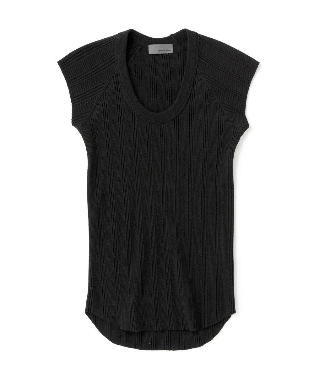 uncrave ランダムリブUネック Tシャツ ブラック