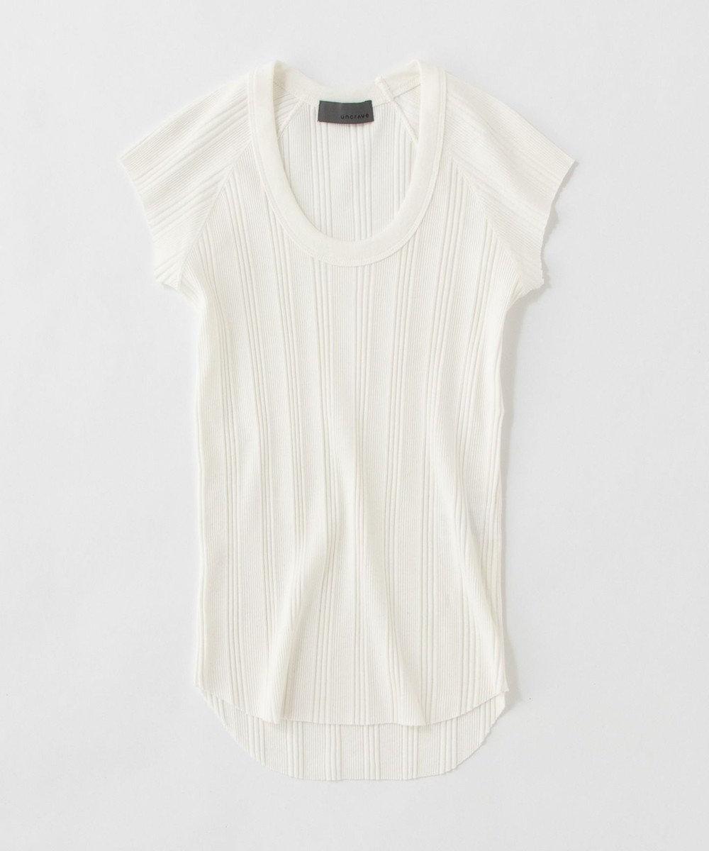 uncrave ランダムリブUネック Tシャツ ホワイト