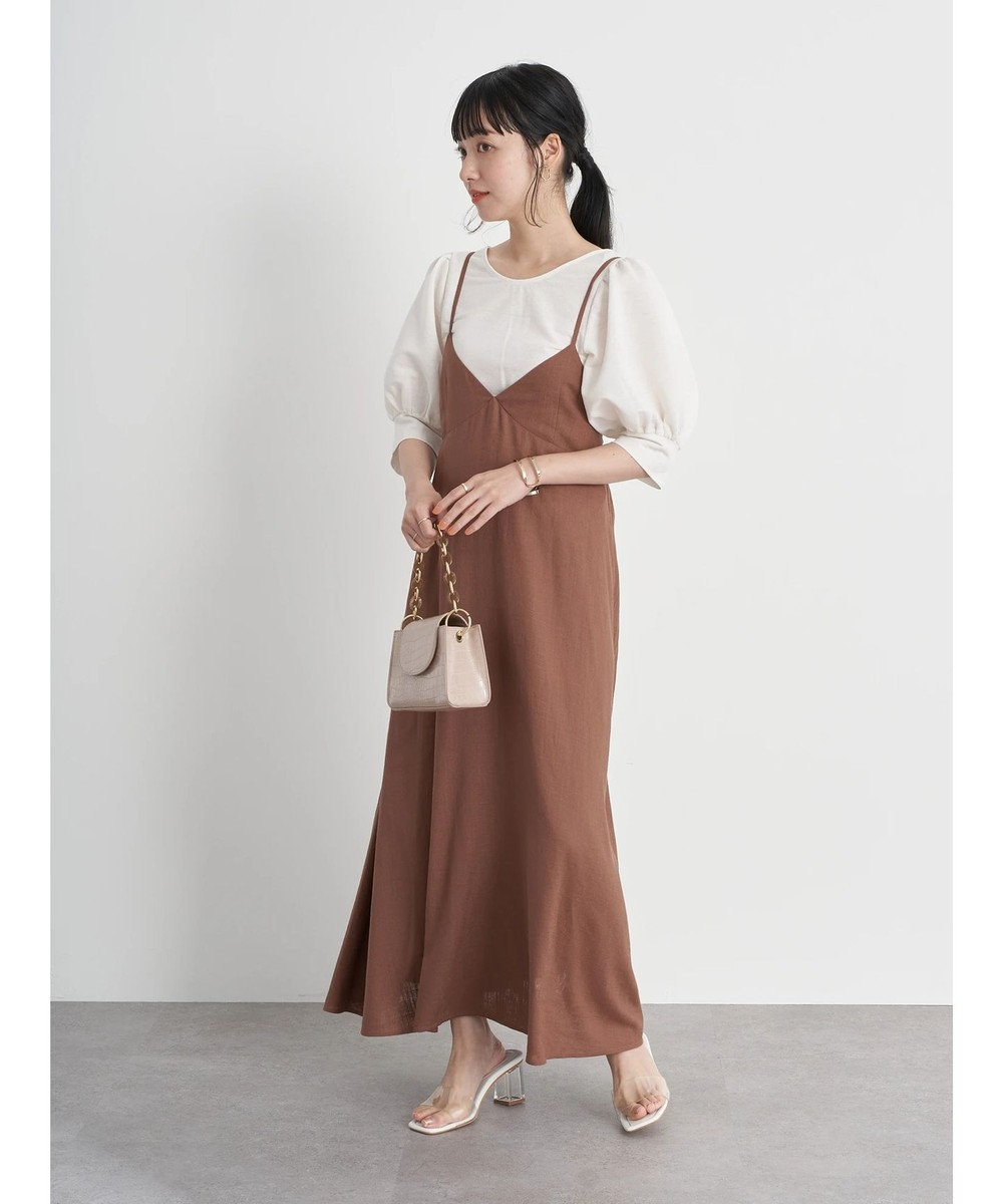 earth music&ecology バックリボンキャミワンピース Brown