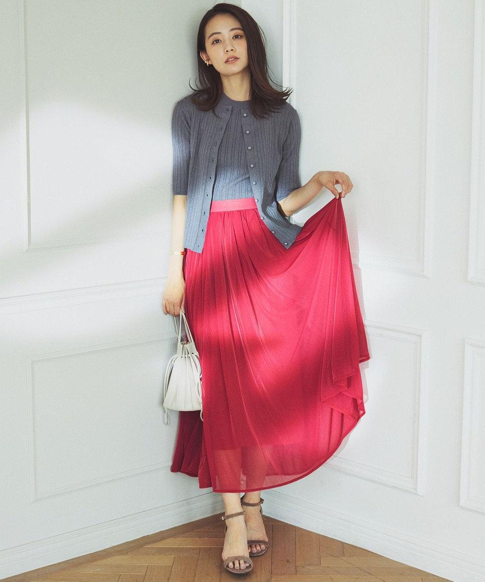 組曲 L 【洗える】シアージャージ フレアスカート レッド系