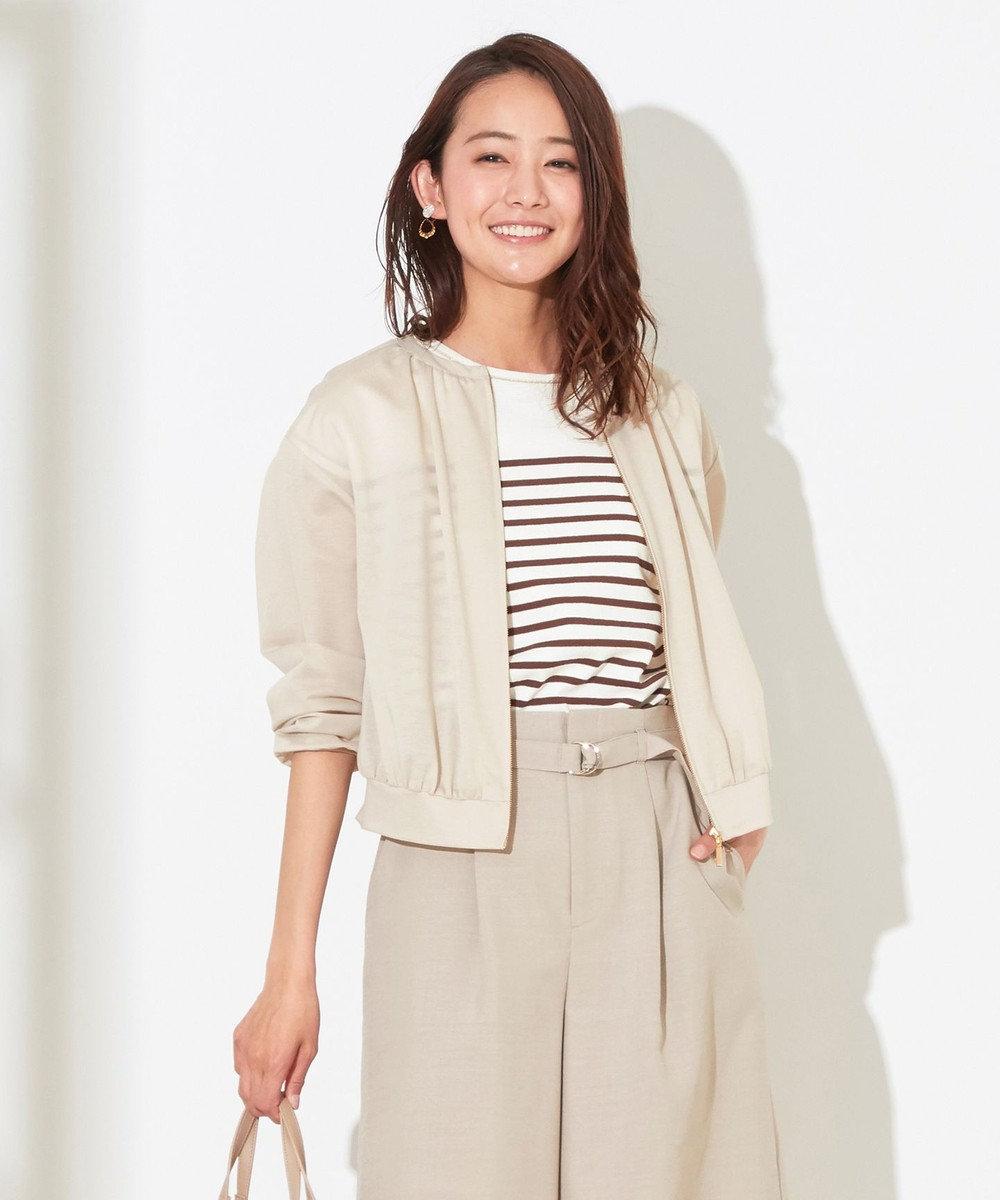 any SiS L 【洗える】カットライクシャツ ブルゾン ベージュ系
