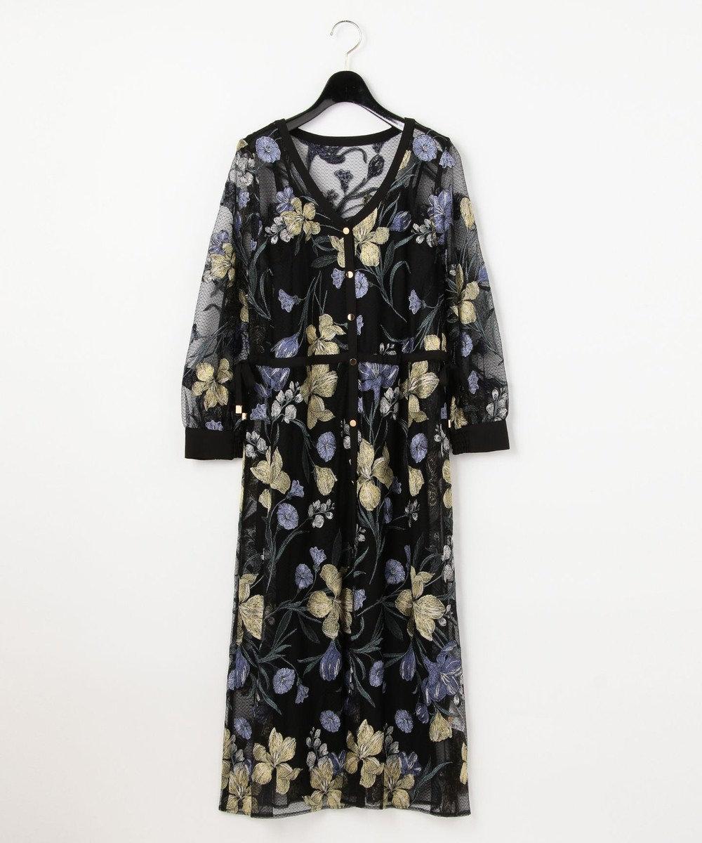 GRACE CONTINENTAL チュールフラワー刺繍ドレス ブラック