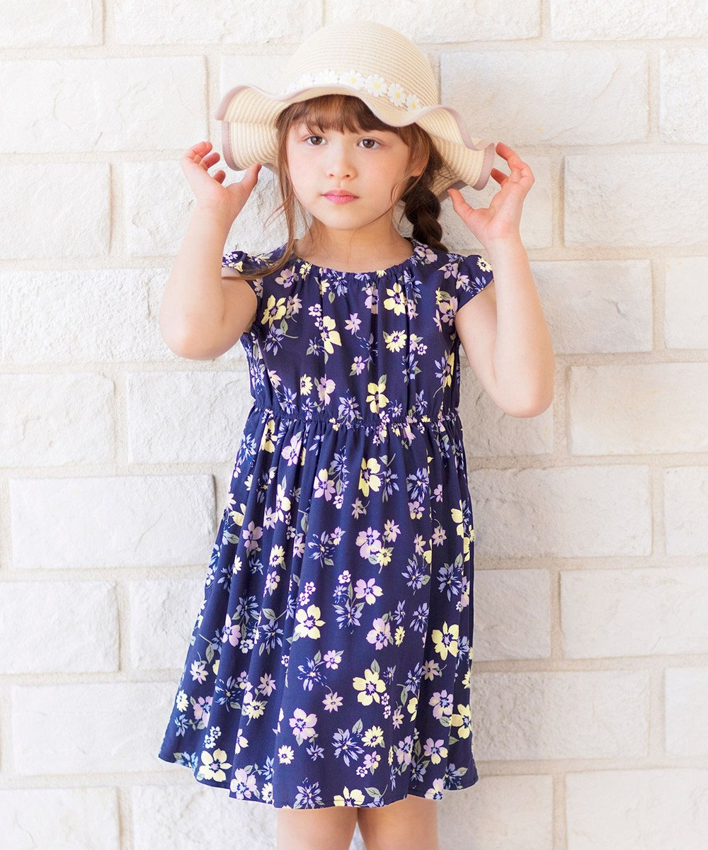 any FAM KIDS 総柄サマー ワンピース ネイビー花柄