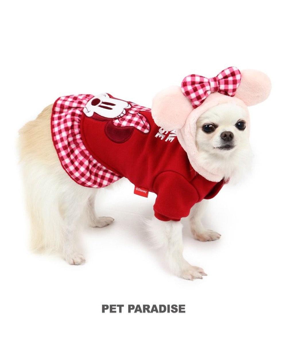 PET PARADISE 犬 服 秋服 ディズニー ミ二ーマウス パーカー 〔小型犬〕 チェック耳付 犬服 犬の服 犬 服 ペットウエア ペットウェア ドッグウエア ドッグウェア ベビー 超小型犬 小型犬 赤