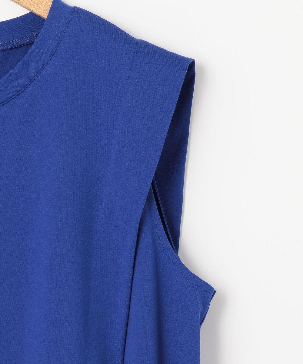 #Newans 【洗える】パワーショルダーデザインカットソー ブルー系