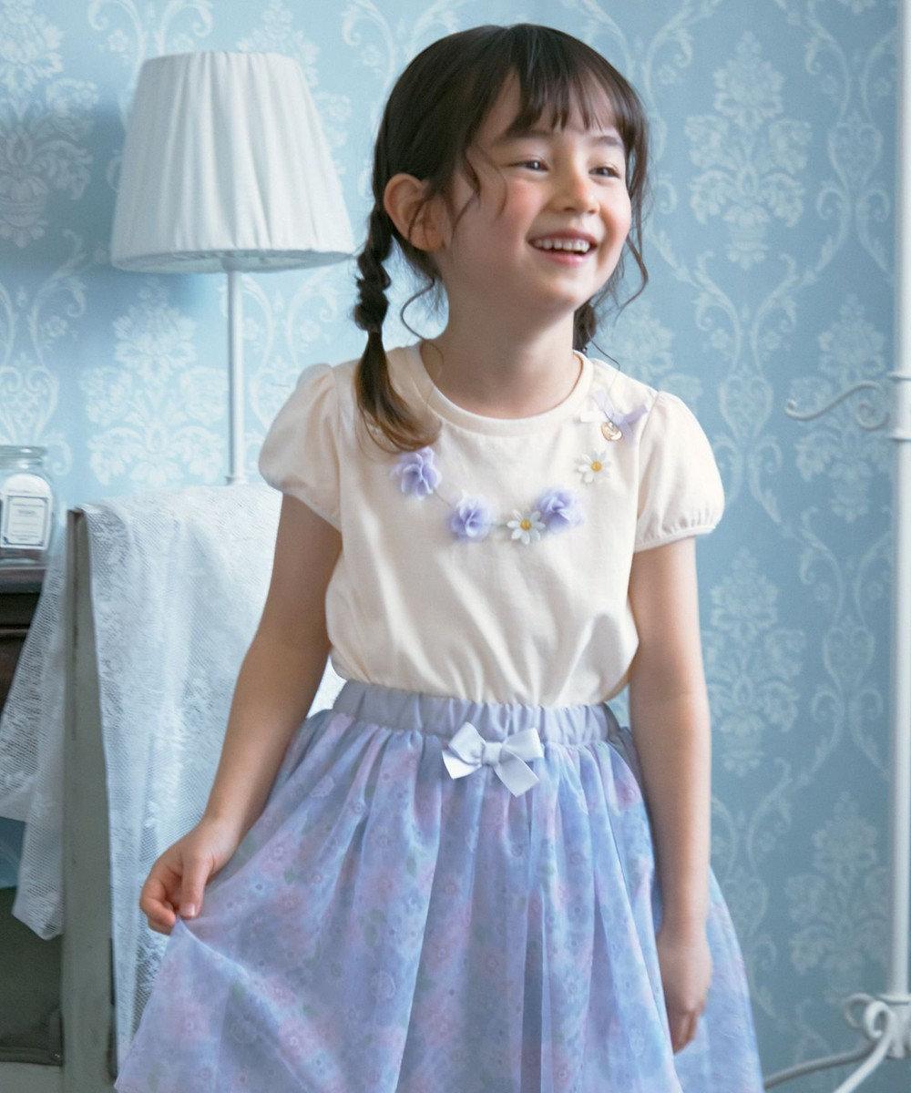 any FAM KIDS フラワーモチーフネックレス風 パフスリーブTシャツ アイボリー系