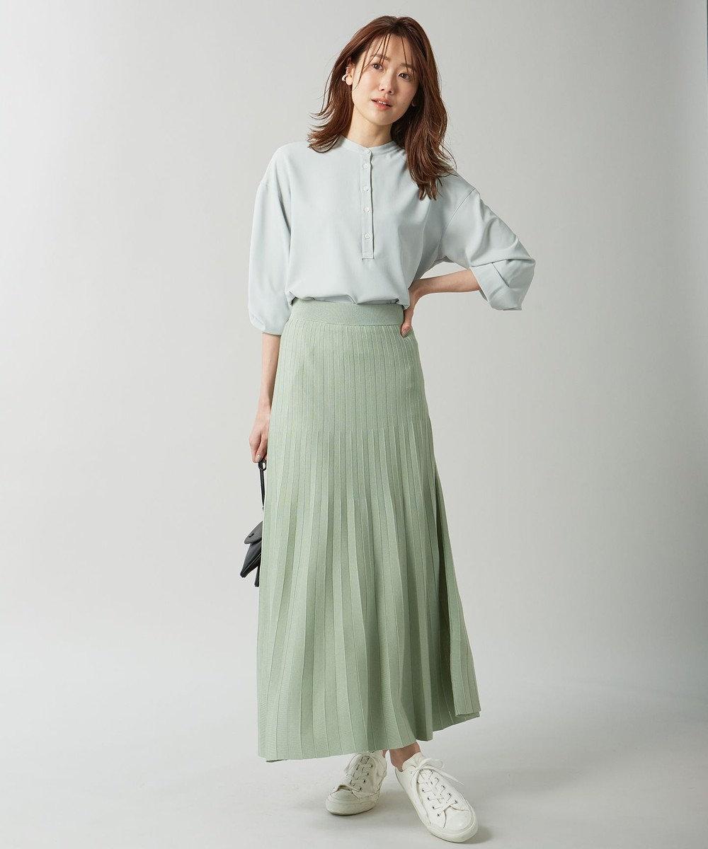 組曲 【セットアップ対応】ライトニットアップ ニットスカート スモーキーグリーン系