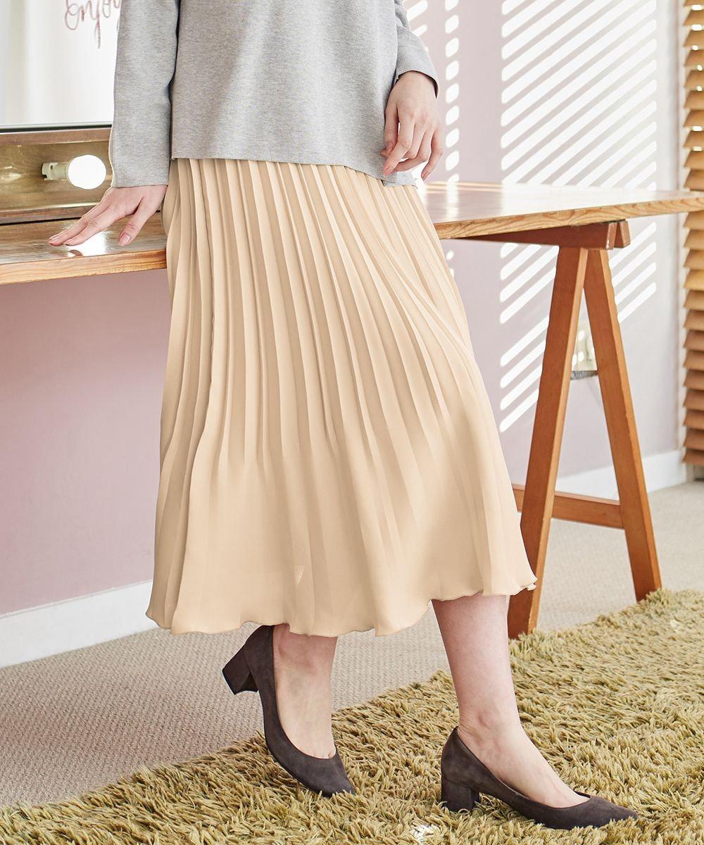 J.PRESS LADIES 【洗える】バックジョーゼットサテン プリーツスカート ピンク系