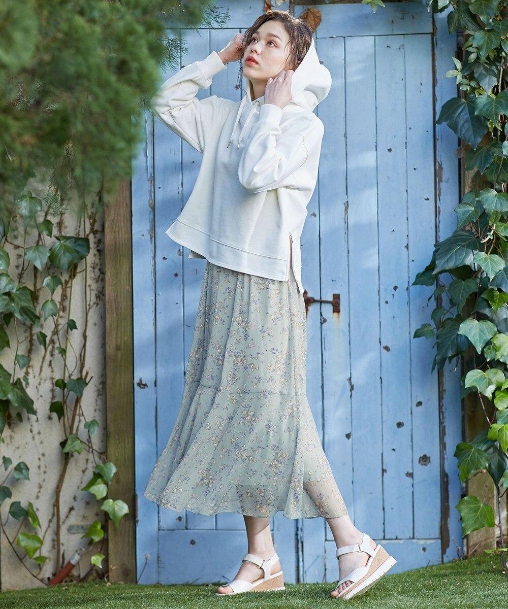 Feroux 【洗える】シャイニーチューリッププリント スカート スモーキーグリーン系3