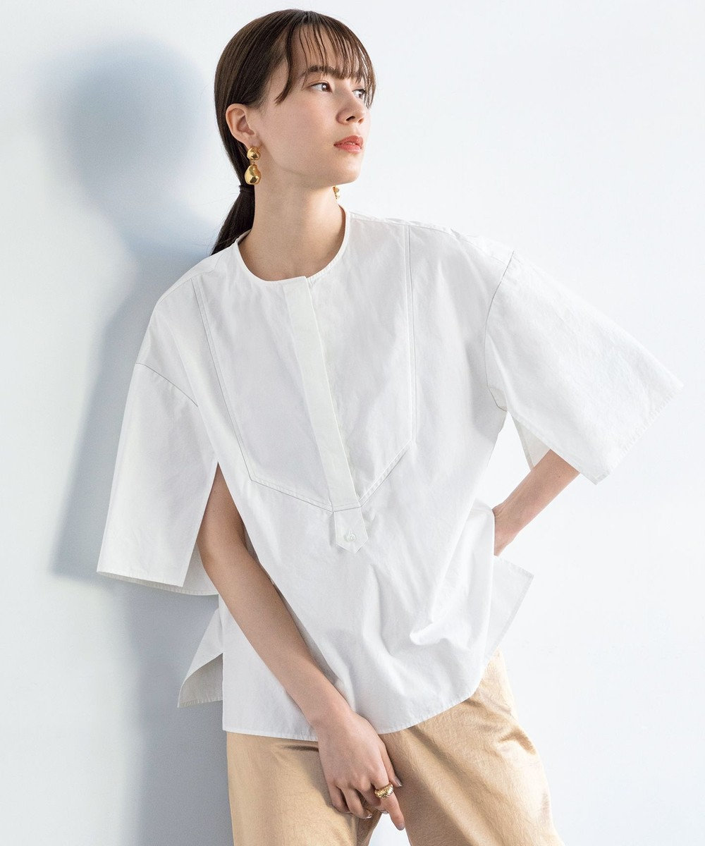 #Newans 【マガジン掲載】ワイドプラケットシャツ(番号NK35) ホワイト系