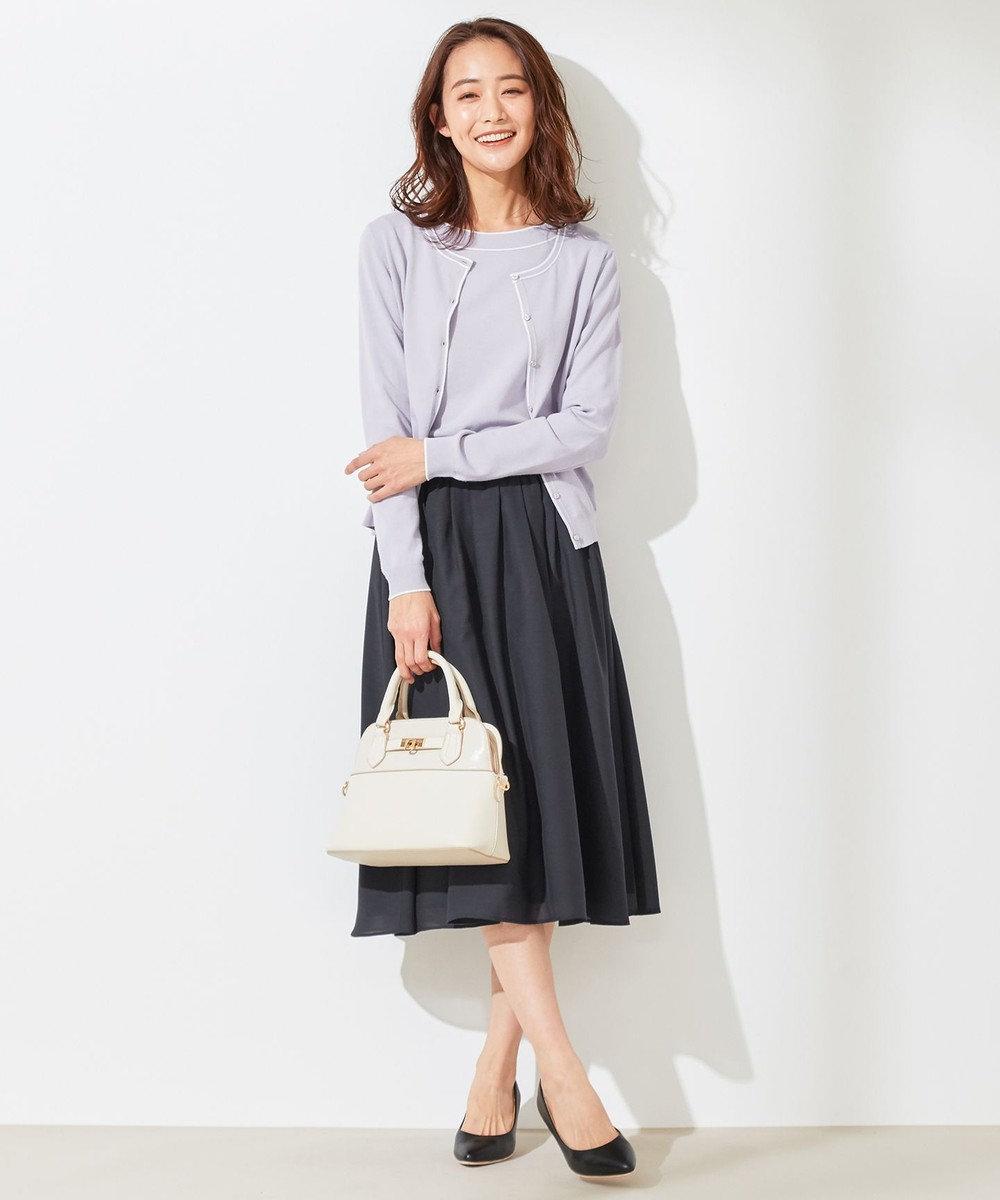 any SiS L 【洗える】ラインポイント カーディガン ラベンダー×オフ