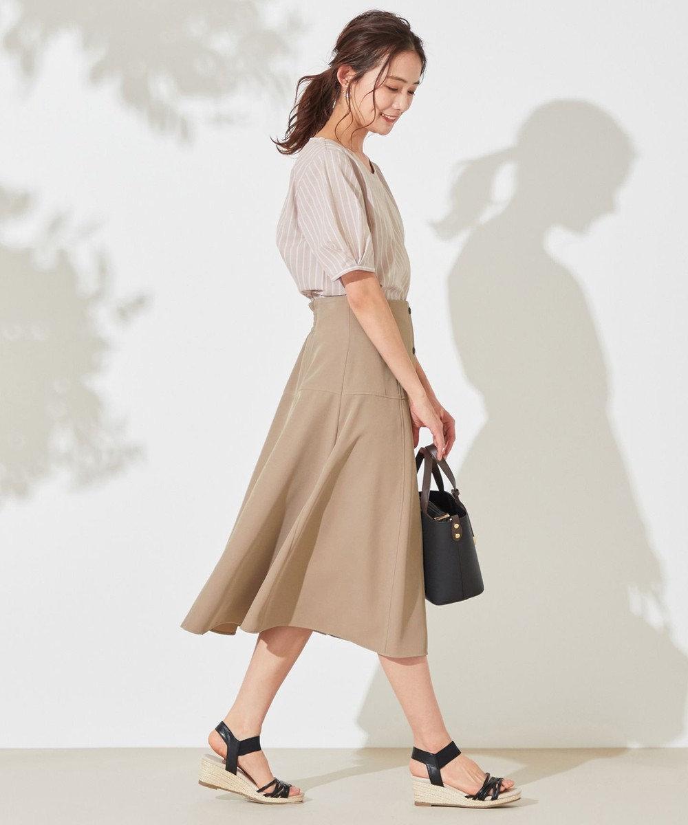 any SiS L 【洗える】コットン/キュプラ タックスリーブ ブラウス モカ