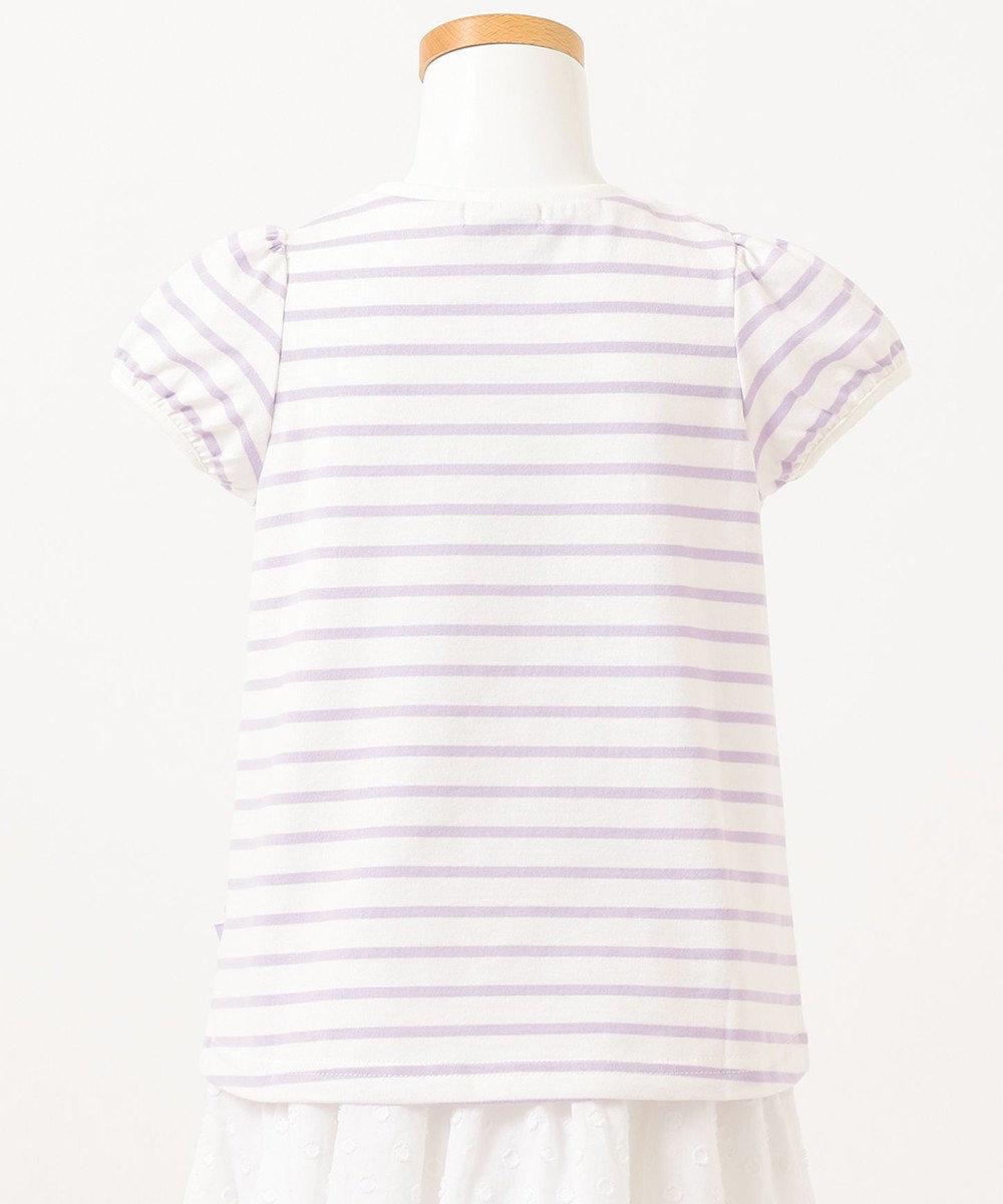 any FAM KIDS ボーダーレースアップTシャツ ライラック系1