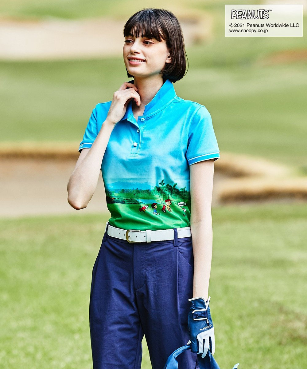 23区GOLF 【PEANUTS】【WOMEN】スヌーピーコラボ 風景画ポロシャツ ブルー系5