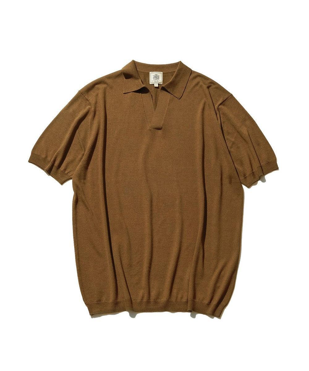 J.PRESS MEN シルク スキッパーポロシャツ ブラウン系