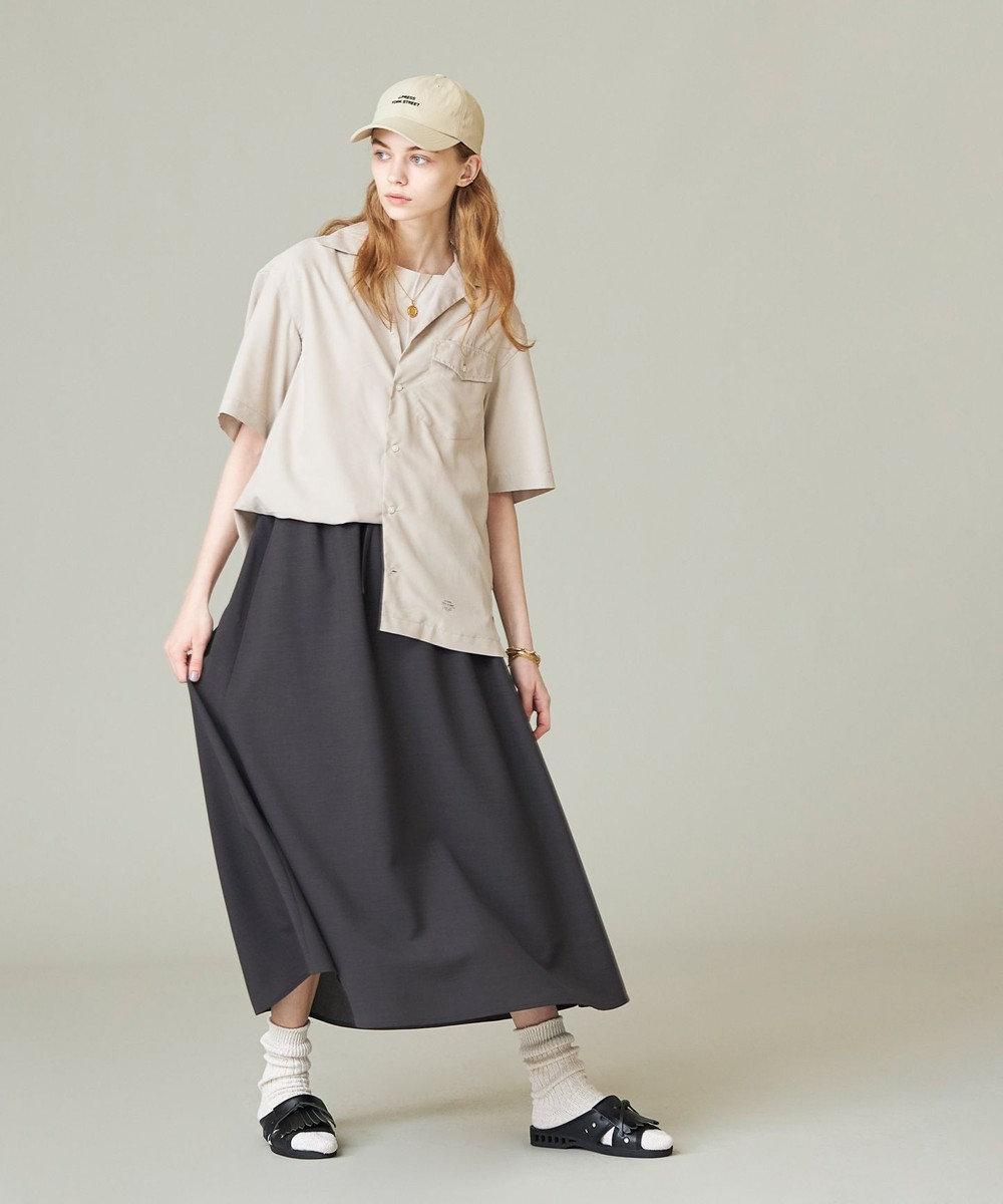 J.PRESS YORK STREET 【WOMEN】【接触冷感】リネンライク マーメイドスカート グレー系