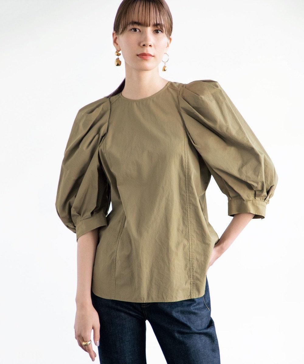 #Newans 【マガジン掲載】ボリュームスリーブシャツ(番号NK34) カーキ系