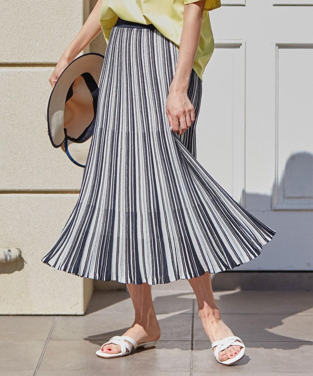 any SiS S 【セットアップ可】シアーマルチカラーニット スカート ネイビー