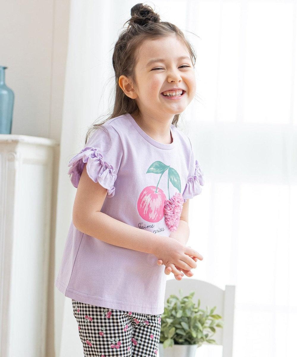 any FAM KIDS シフォンモチーフ フルーツTシャツ ラベンダー(さくらんぼ)
