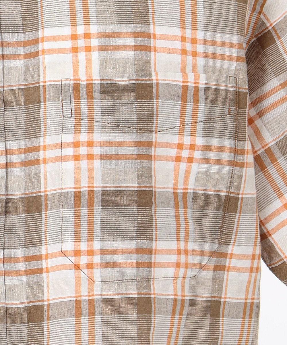 JOSEPH ABBOUD ドライタッチエアリノチェック シャツ オレンジ系4
