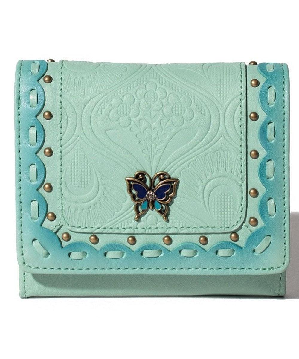 ANNA SUI シエスタ 二つ折りBOX財布 ターコイズ