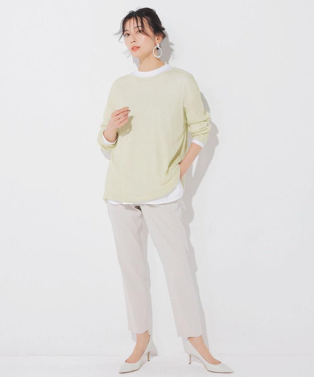 23区 L 【中村アンさん着用】リネンビスコーステーパード パンツ(番号H52) ベージュ系