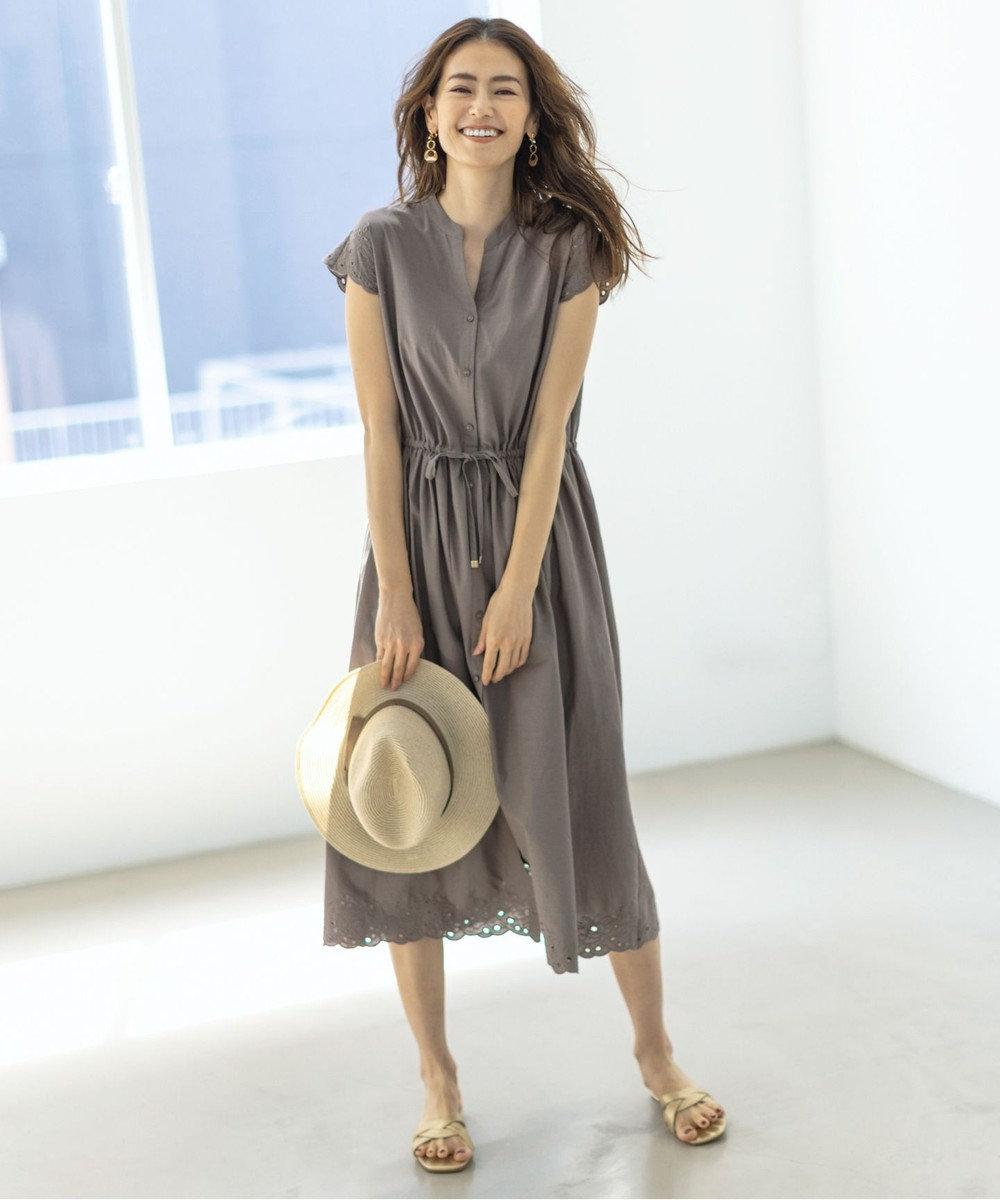 any SiS 【洗える】エンブロイダリースキッパー ワンピース モカ