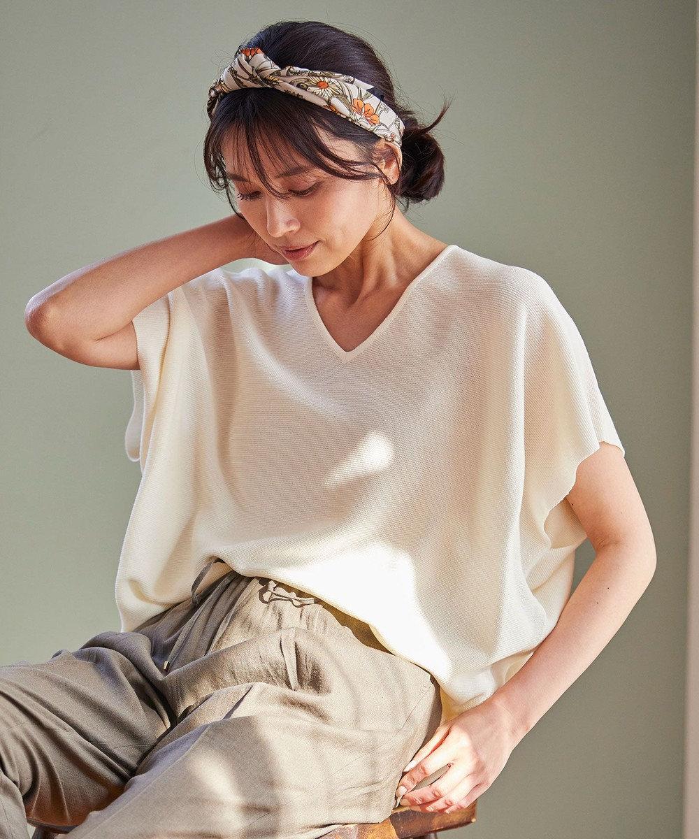 any FAM L 【洗える】ウォッシャブルガーターVネックニットTシャツ ホワイト系