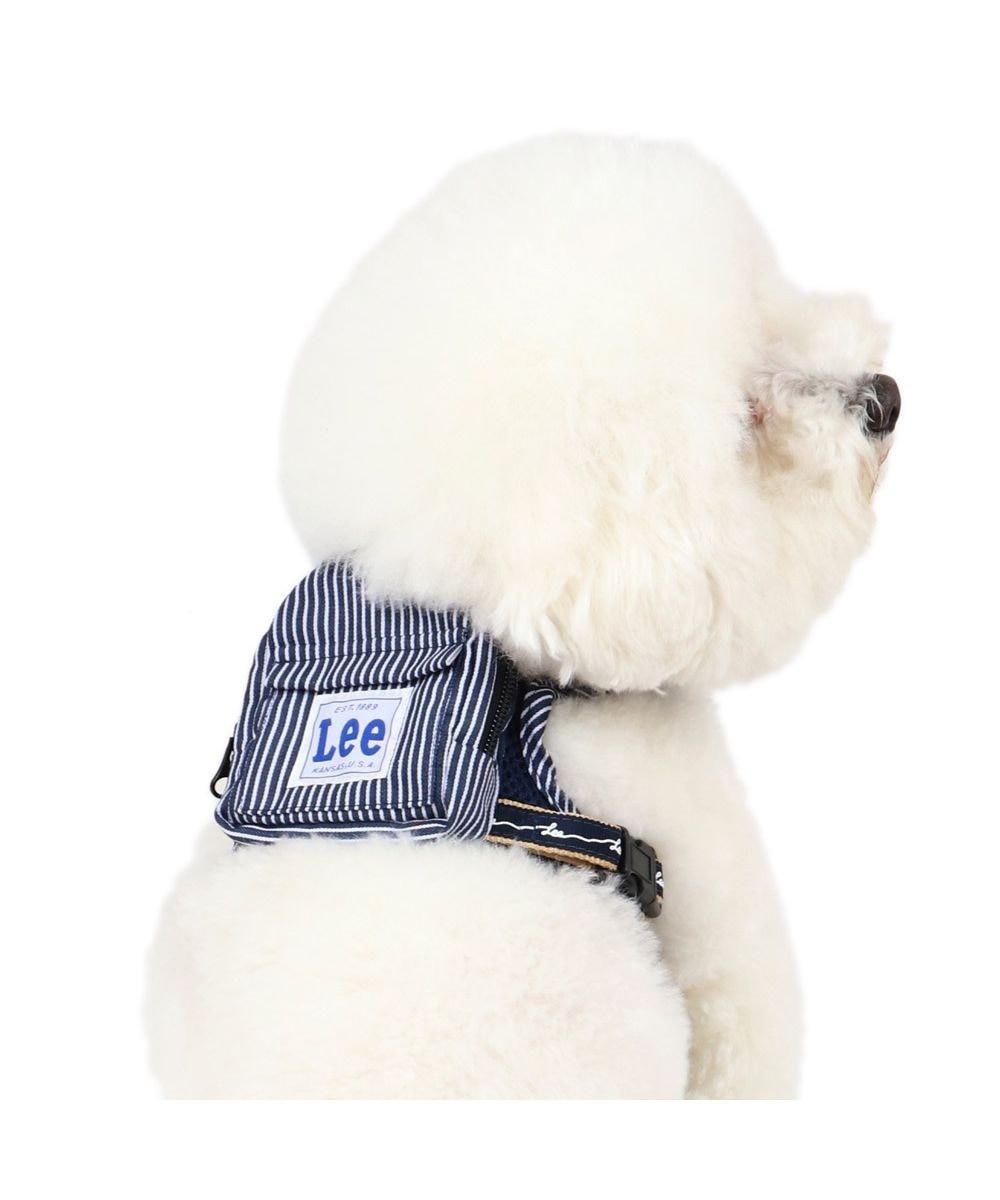PET PARADISE 犬 ハーネス ペットパラダイス Lee ロープロゴ柄 ヒッコリーリュック ハーネス 3S〔小型犬〕 超小型犬 小型犬 紺(ネイビー・インディゴ)