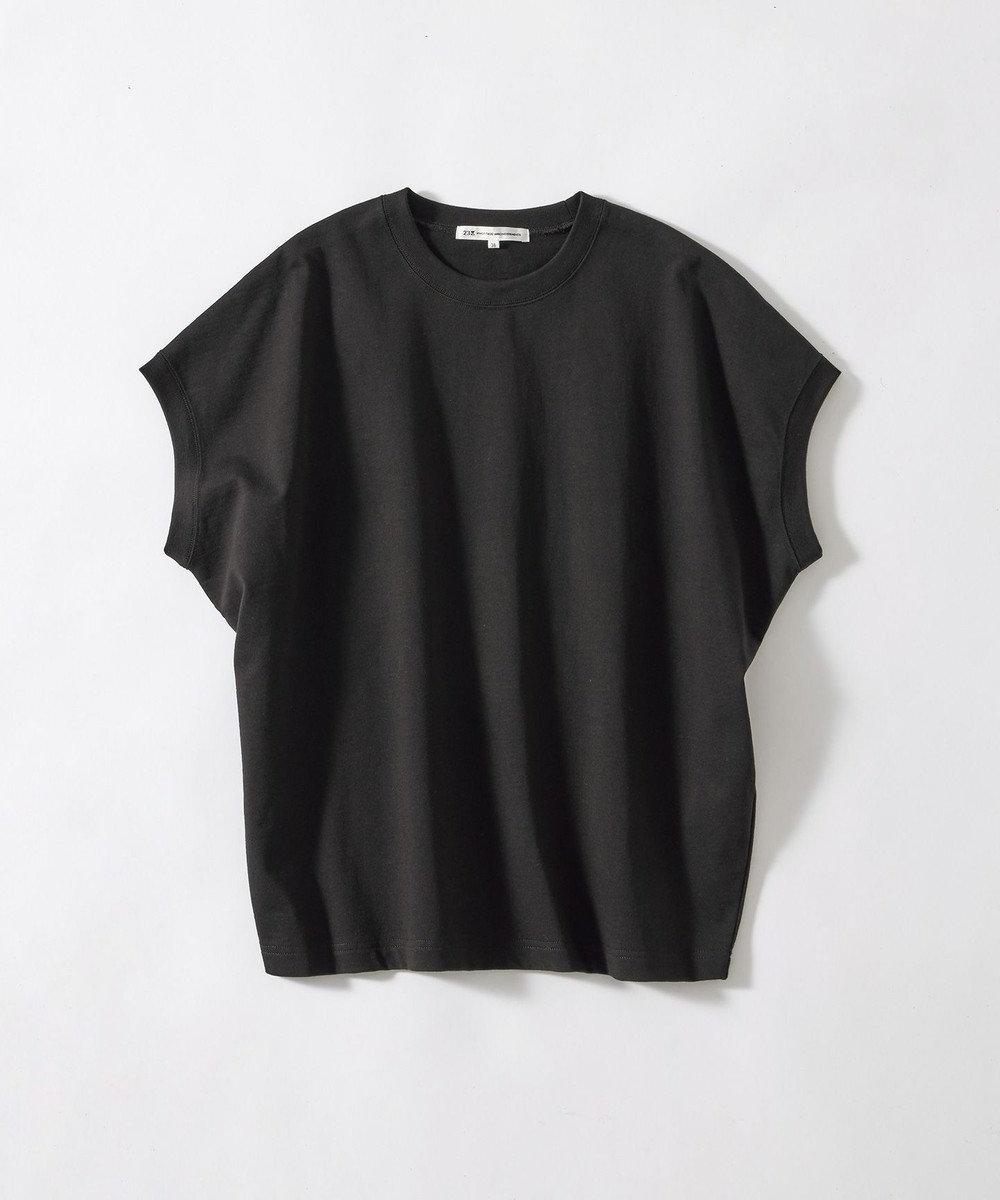 23区 S 【ONWARD MAG】ボリュームコットン フレンチスリーブ TEE(番号2K82) ブラック系